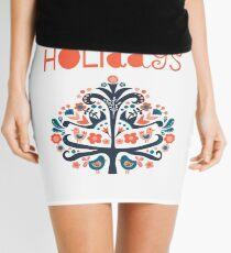 Happy Holidays Scandinavian folk art illustration Mini Skirt
