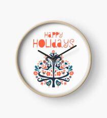 Happy Holidays Scandinavian folk art illustration Clock