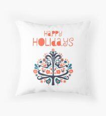 Happy Holidays Scandinavian folk art illustration Throw Pillow