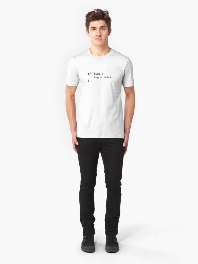 Alternate view of JavaScript - If Bug Bug Equals False (Inverted) Slim Fit T-Shirt