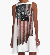 Indy 500 amerikanische Flagge Indiana mit Rennwagen A-Linien Kleid