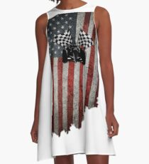 Indy 500 American Flag Indiana with Racecar A-Line Dress