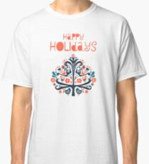 Happy Holidays Scandinavian folk art illustration Classic T-Shirt