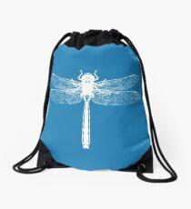 White Dragonfly  Drawstring Bag