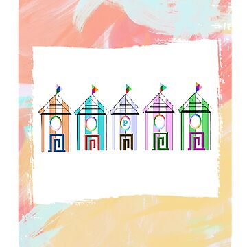 Beach huts personalized with initial P by myfavourite8