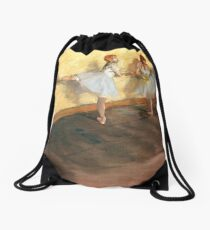 Edgar Degas - Dancers Practicing at the Barre (new color editing) Drawstring Bag