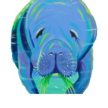 Manatee Painting - Manatee Gift - Gift For Manatee Lovers - Manatee Gift - Marine Biologist Gift by Galvanized