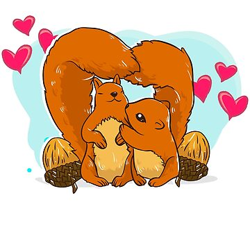 Squirrel Couple Love by Pixelofart