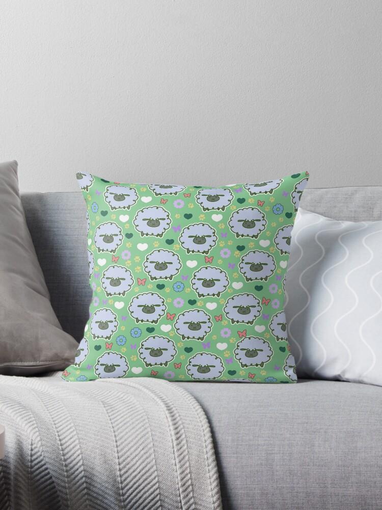 Spring Sheep Green Pattern by SaradaBoru