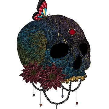 Awesome Butterfly On The Skull Graphic Artistic by perfectpresents
