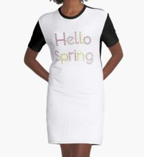Hello Spring flower lettering illustration Graphic T-Shirt Dress