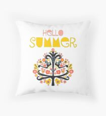 Hello Summer Scandinavian folk art illustration. Flat style isolated lettering. Papercut collage tree with flowers and birds black red pink yellow blue Throw Pillow