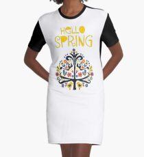 Hello Spring Scandinavian folk illustration Graphic T-Shirt Dress