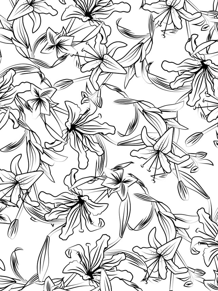 Lilies-Black on White by MeredithWatson