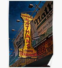 The Well Known Neon Sign at the Original Nathan's Famous Frankfurters Poster