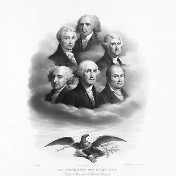 First Six Presidents - Bald Eagle - Vintage Lithograph by warishellstore