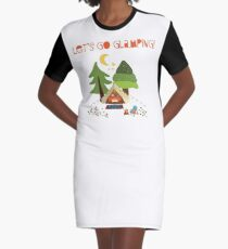 Lets go glamping - summer camping scene illustration. Boho teepee tent Graphic T-Shirt Dress