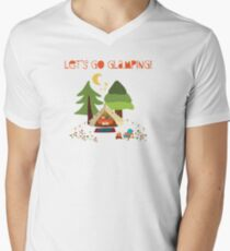 Lets go glamping - summer camping scene illustration. Boho teepee tent Men's V-Neck T-Shirt