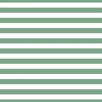 Sage Green White Horizontal Beach Hut Stripes by podartist