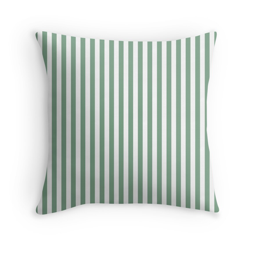 Sage Green and White Vertical Deck Chair Stripes