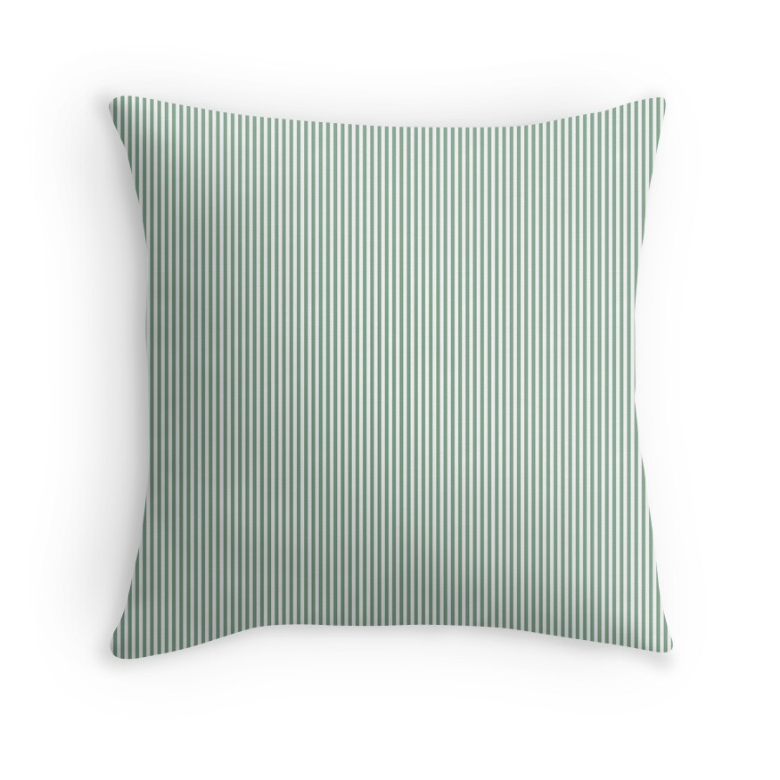 Sage Green and White Vertical Sailor Stripes