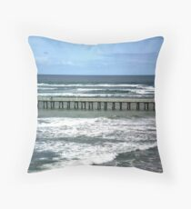 Southern Ocean meets Port Phillip Bay, Queenscliff,  Vic. Throw Pillow