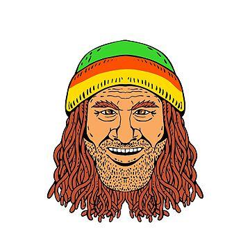 Rastafarian Head Front Drawing Color by patrimonio