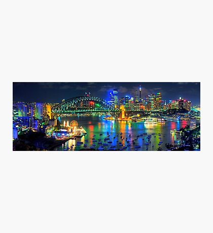 City Of Light - Sydney Harbour Fantasy (25 Exposure HDR Pano)- The HDR Experience Photographic Print