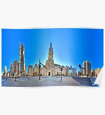 360 degree view ( MUST VIEW INTERACTIVE VERSION !  ) of the Philadelphia's Center City Poster