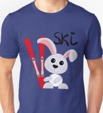 Süßer Ski Hase hält seine Skier Unisex T-Shirt