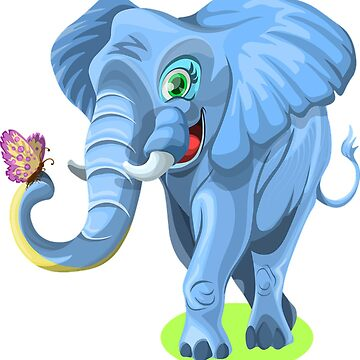 Blue elephant with butterfly by Scirocko