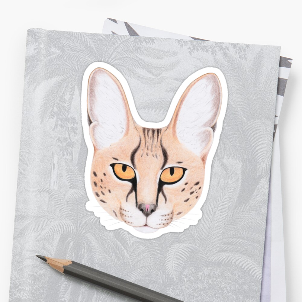 African Serval Cat Stickers