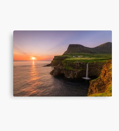 Faroe Island - Waterfall Canvas Print