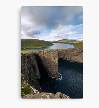 Faroe Island - Lake and the Cliff Canvas Print