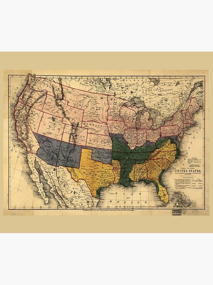 Civil War Era Map Of The United States January 1864 Wall Tapestry - Us-map-civil-war-era