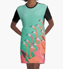 Fresco of the flamingoes Graphic T-Shirt Dress