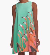 Fresko der Flamingos A-Linien Kleid
