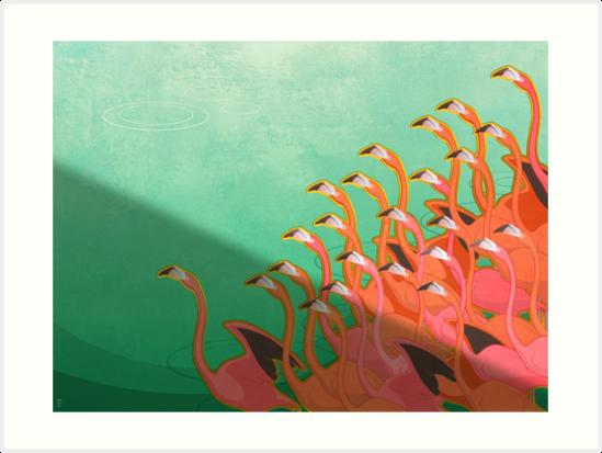 Fresko der Flamingos von Iker Paz Studio