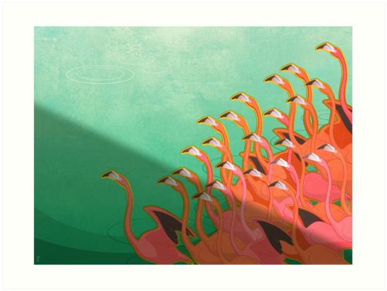 Fresco of the flamingoes by Iker Paz Studio