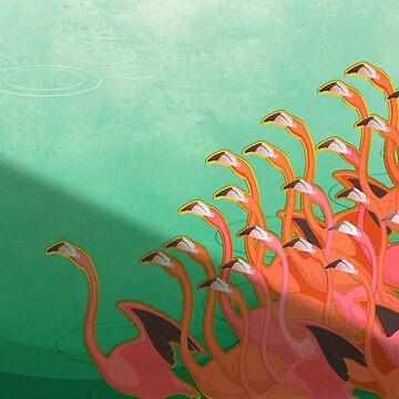 Fresco of the flamingoes by ikerpazstudio