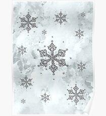 Glitter Schneeflocken Eis Frost Winter Poster