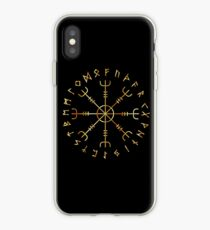 Scandinavian Runic Alphabet with the Vegvisir-the Magic Navigation Compass of ancient Vikings iPhone Case