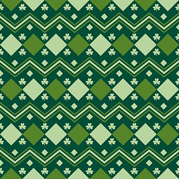 St Patrick's Day themed Clover Leaves Irish Green Pattern by mrhighsky
