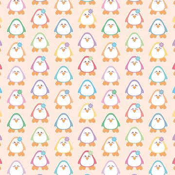 Cute pastel penguin seamless vector repeat pattern by limengd
