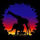 Silhouette Elefant Giraffe Tiger Afrika Sonne von rhnaturestyles