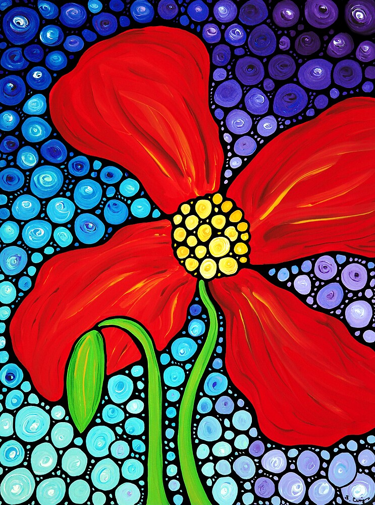Quot Lady In Red Large Red Poppy Art Mosaic Print Flower Quot By