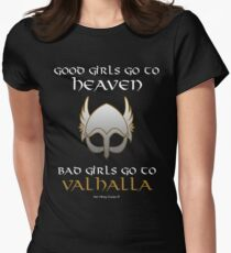 Bad Girls Go to Valhalla Womens Fitted T-Shirt