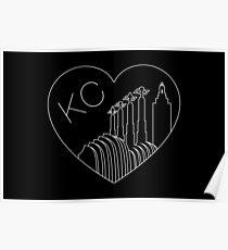 Kansas City - minimalistische Linie Art Skyline Heart White Poster