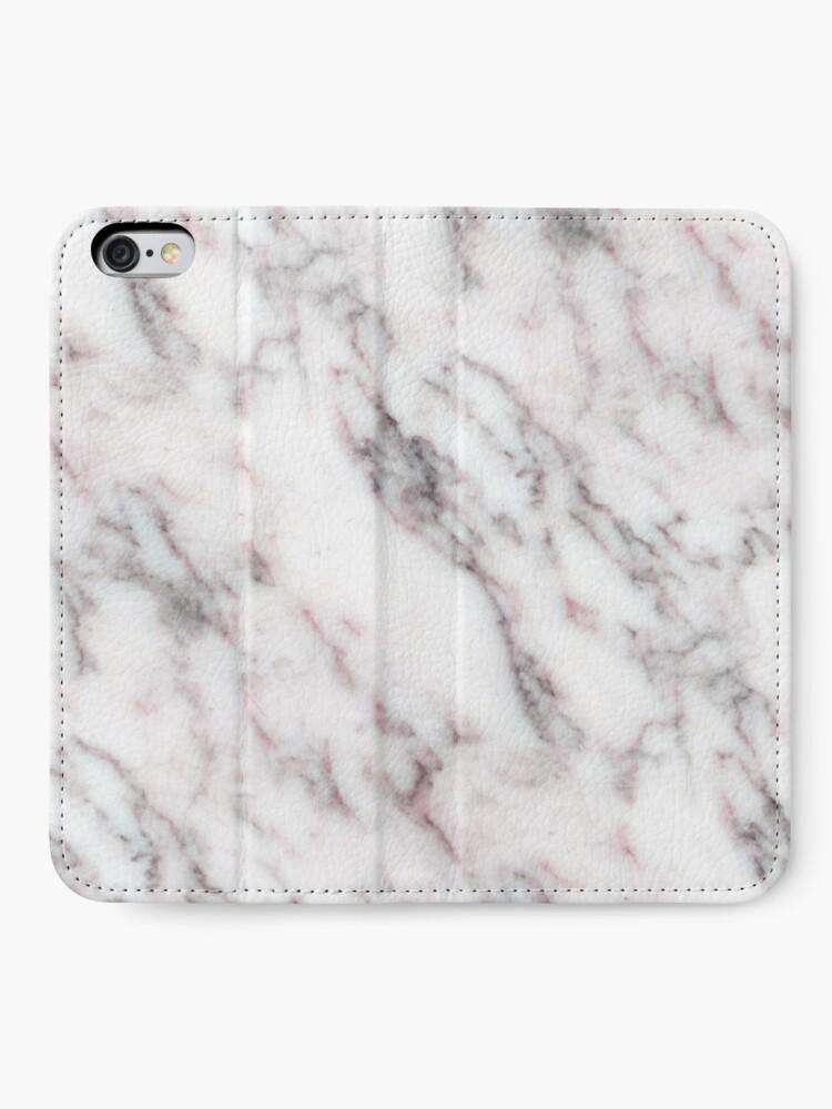 Alternative Ansicht von Soft Pink und Charcoal Venen auf Schlagsahne Marmor iPhone Flip-Case
