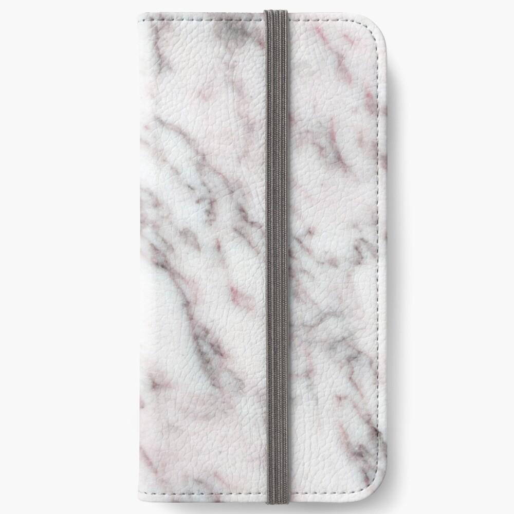 Soft Pink und Charcoal Venen auf Schlagsahne Marmor iPhone Flip-Case